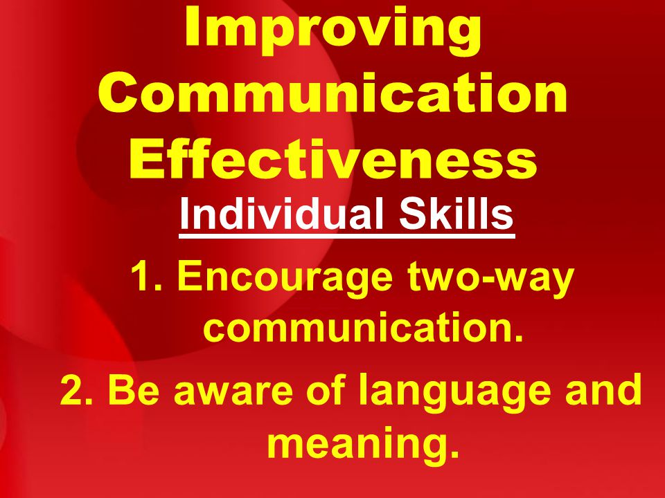 Improving Communication Effectiveness Individual Skills 1.