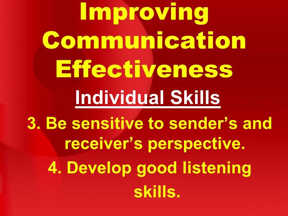 Improving Communication Effectiveness Individual Skills 3.