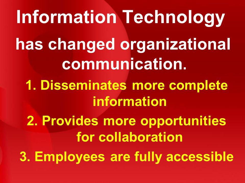 Information Technology has changed organizational communication.