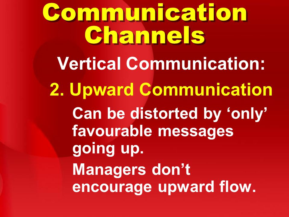 Communication Channels Vertical Communication: 2.