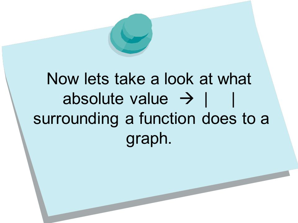 Now lets take a look at what absolute value  | | surrounding a function does to a graph.