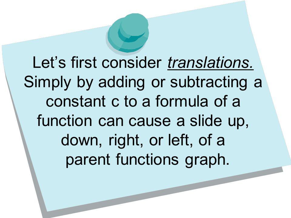 Let's first consider translations.