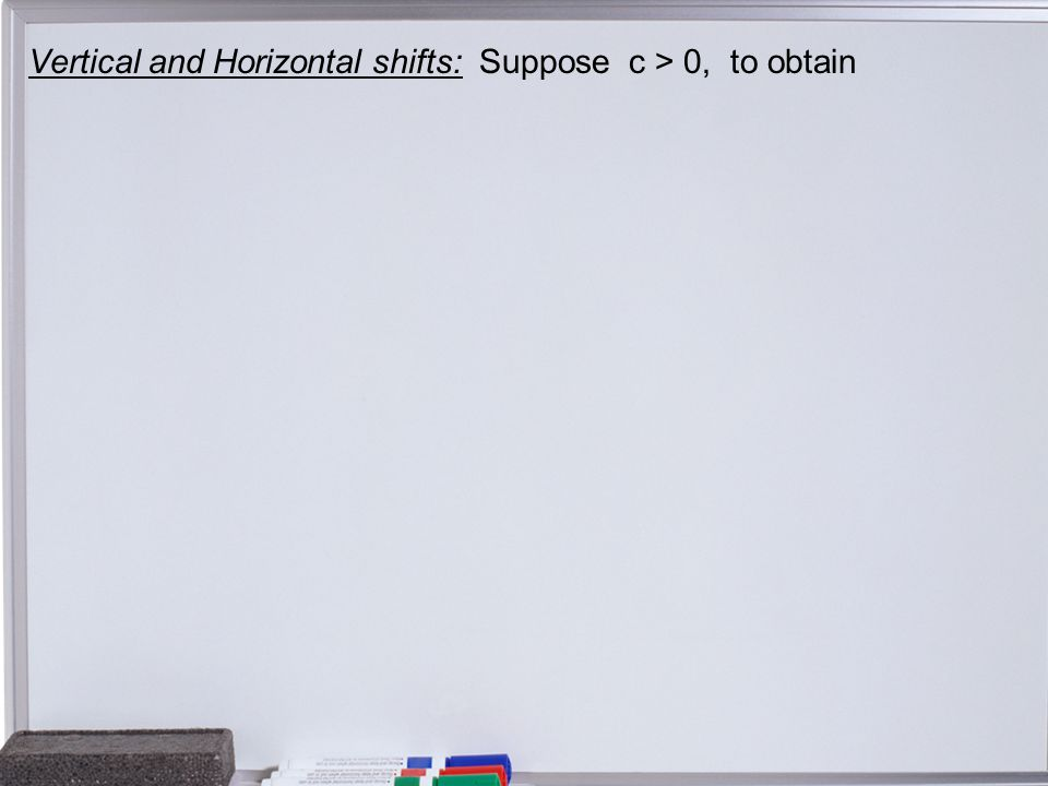 Vertical and Horizontal shifts: Suppose c > 0, to obtain