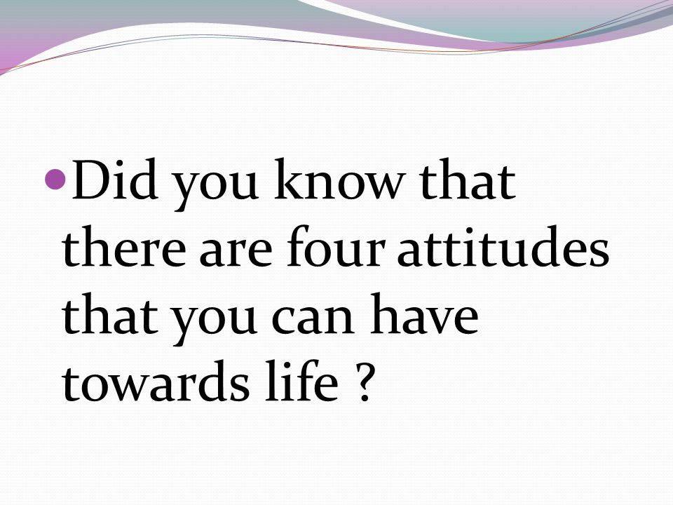 Did you know that there are four attitudes that you can have towards life