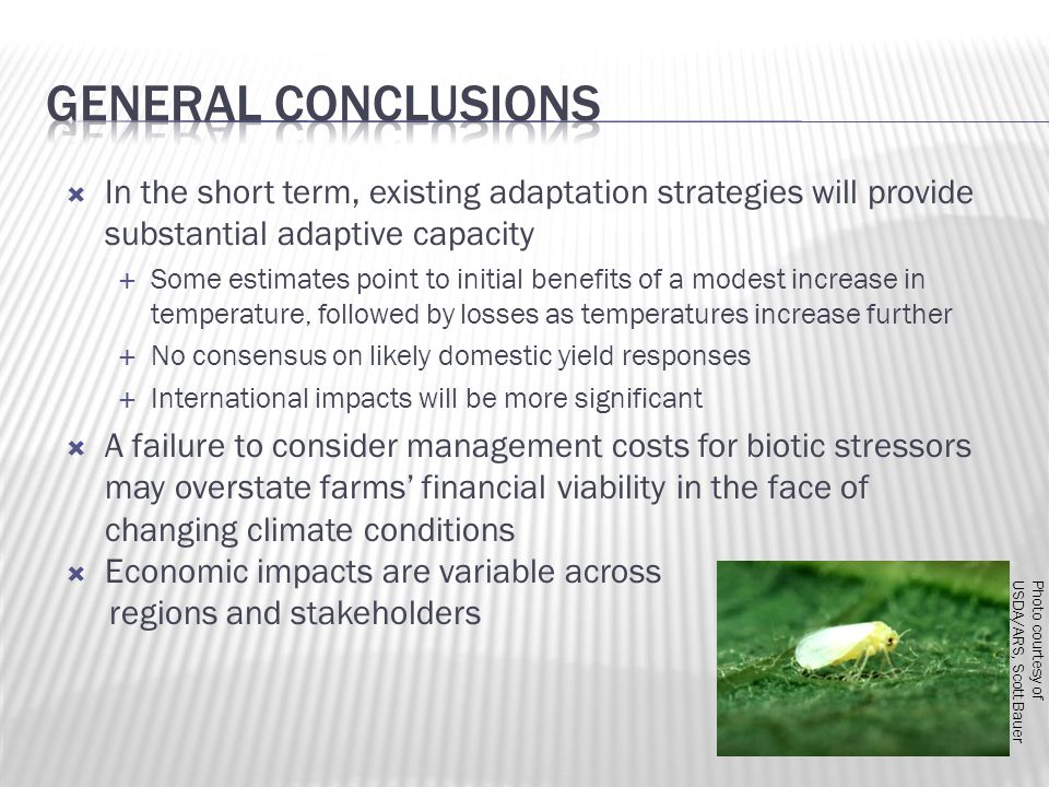 In the short term, existing adaptation strategies will provide substantial adaptive capacity  Some estimates point to initial benefits of a modest increase in temperature, followed by losses as temperatures increase further  No consensus on likely domestic yield responses  International impacts will be more significant  A failure to consider management costs for biotic stressors may overstate farms' financial viability in the face of changing climate conditions  Economic impacts are variable across regions and stakeholders Photo courtesy of USDA/ARS, Scott Bauer