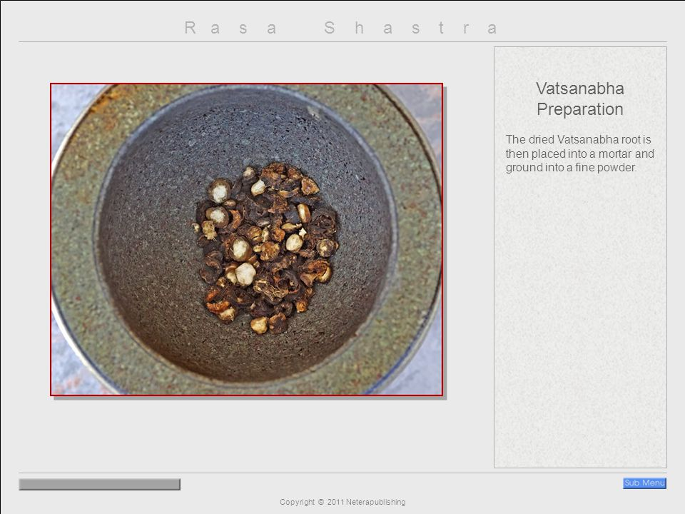 R a s a S h a s t r a Copyright © 2011 Neterapublishing Vatsanabha Preparation The dried Vatsanabha root is then placed into a mortar and ground into a fine powder.