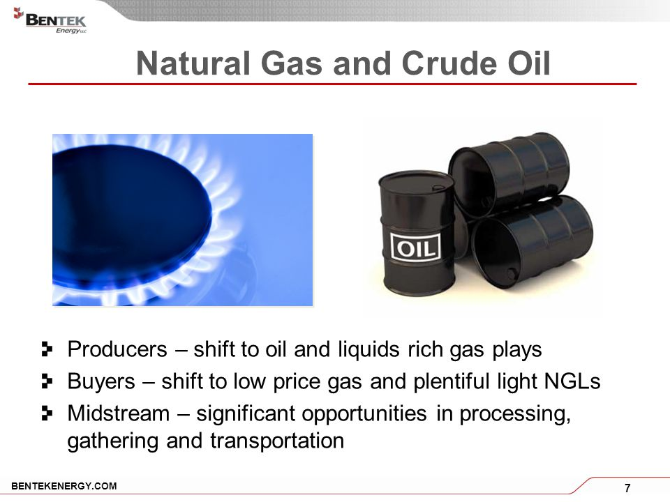 7 BENTEKENERGY.COM Natural Gas and Crude Oil Producers – shift to oil and liquids rich gas plays Buyers – shift to low price gas and plentiful light NGLs Midstream – significant opportunities in processing, gathering and transportation