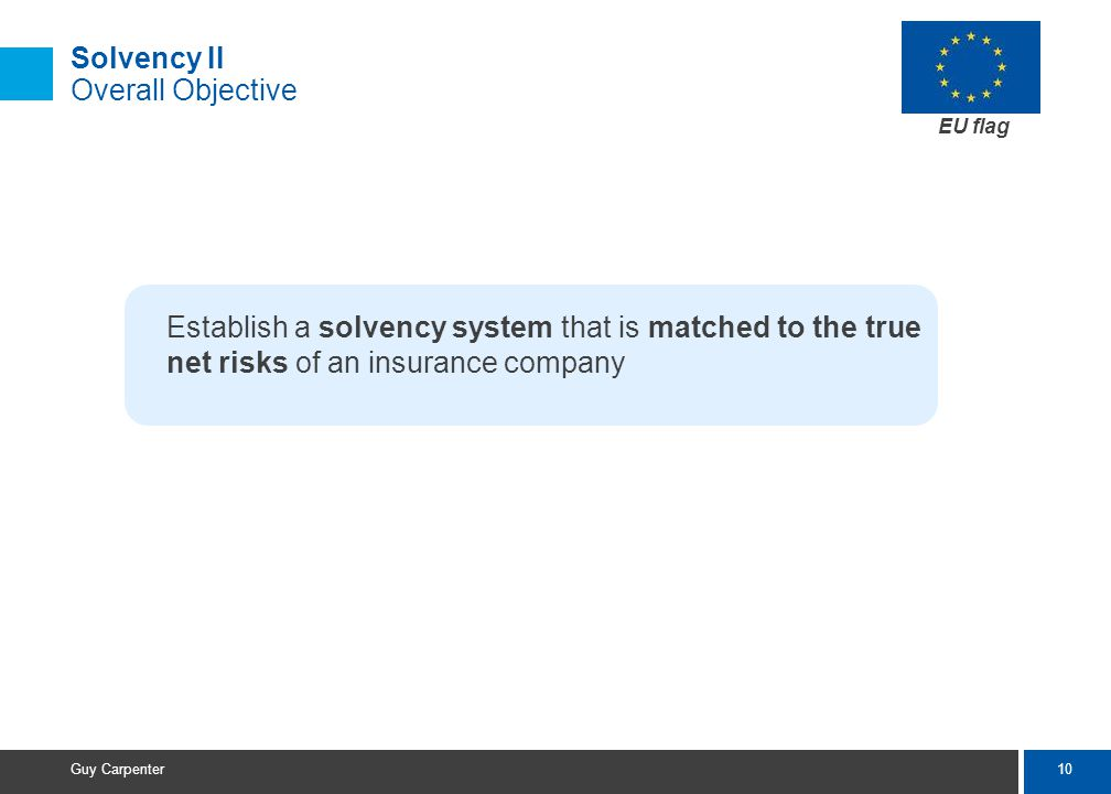 10 Guy Carpenter Solvency II Overall Objective Establish a solvency system that is matched to the true net risks of an insurance company EU flag