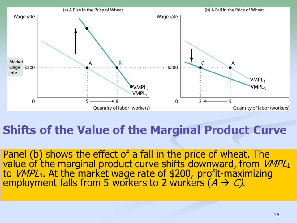 15 Shifts of the Value of the Marginal Product Curve Panel (a) shows the effect of a rise in the price of wheat on George and Martha's demand for labo