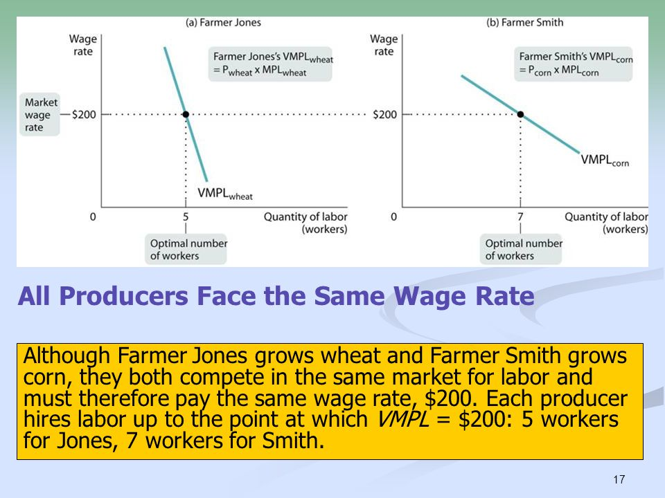 17 All Producers Face the Same Wage Rate Although Farmer Jones grows wheat and Farmer Smith grows corn, they both compete in the same market for labor