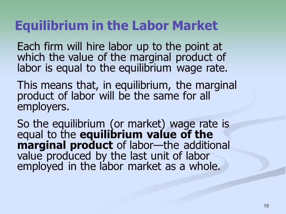 18 Equilibrium in the Labor Market Each firm will hire labor up to the point at which the value of the marginal product of labor is equal to the equil