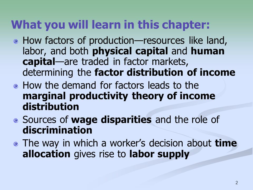 3 A factor of production is any resource that is used by firms to produce goods and services, items that are consumed by households.