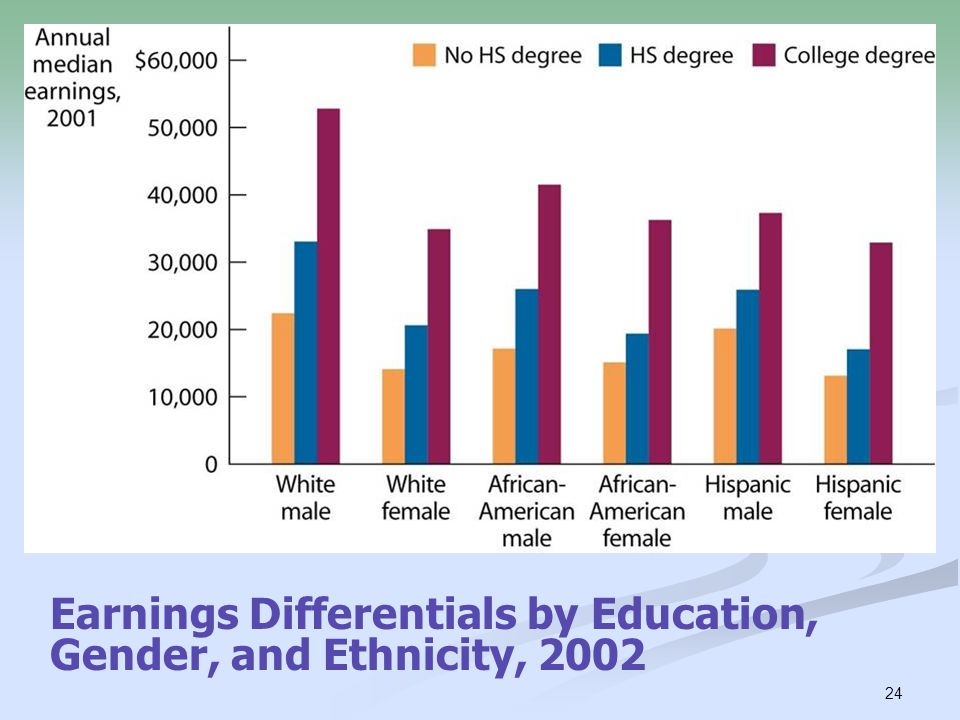 24 Earnings Differentials by Education, Gender, and Ethnicity, 2002