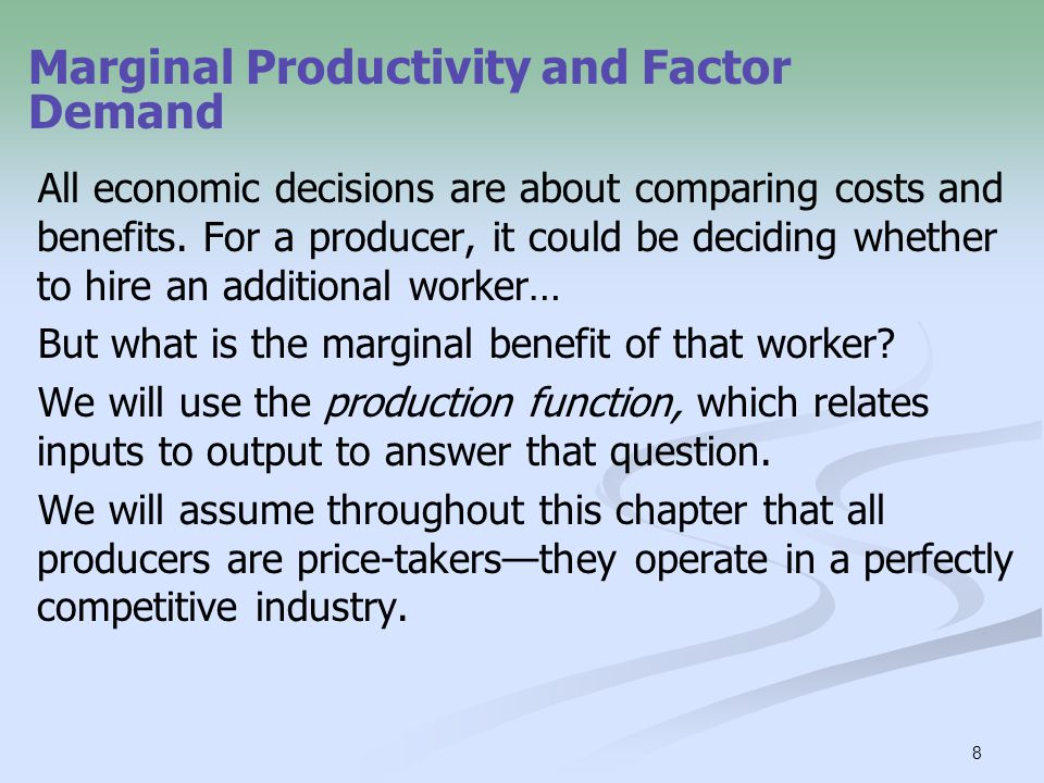 9 Panel (a) uses the total product curve to show how total wheat production depends on the number of workers employed on the farm; panel (b) shows how the marginal product of labor, the increase in output from employing one more worker, depends on the number of workers employed.