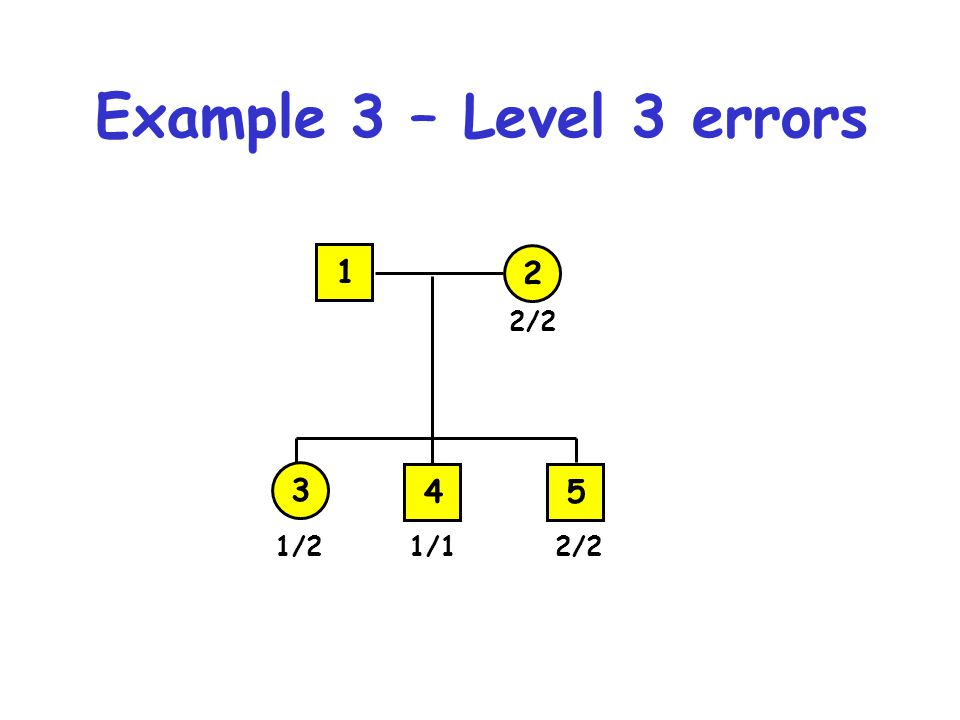 Example 3 – Level 3 errors 1/2 3 1/12/2 2 1 45