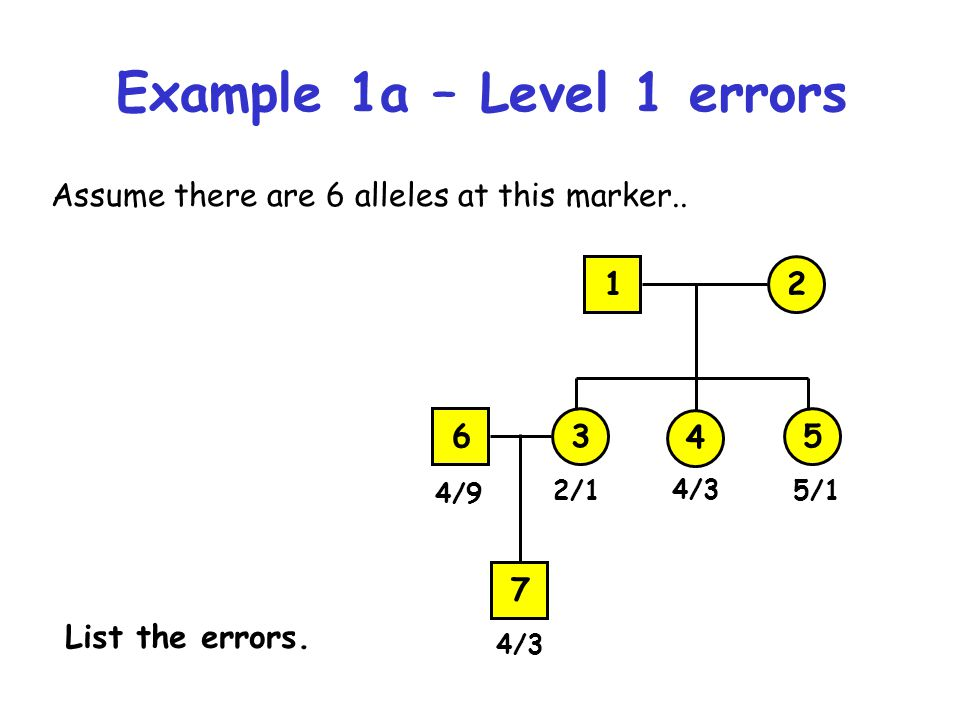 Example 1b – Level 1 errors 12 4 3 4/3 5 4/12/2 12 4 3 4/4 5 2/12/2 List the errors here.