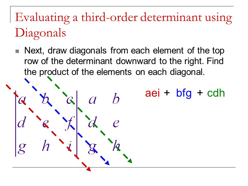 Evaluating a third-order determinant using Diagonals Next, draw diagonals from each element of the top row of the determinant downward to the right.