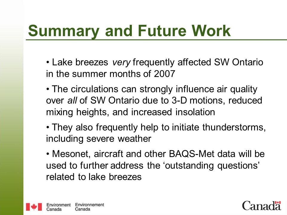 Summary and Future Work Lake breezes very frequently affected SW Ontario in the summer months of 2007 The circulations can strongly influence air qual