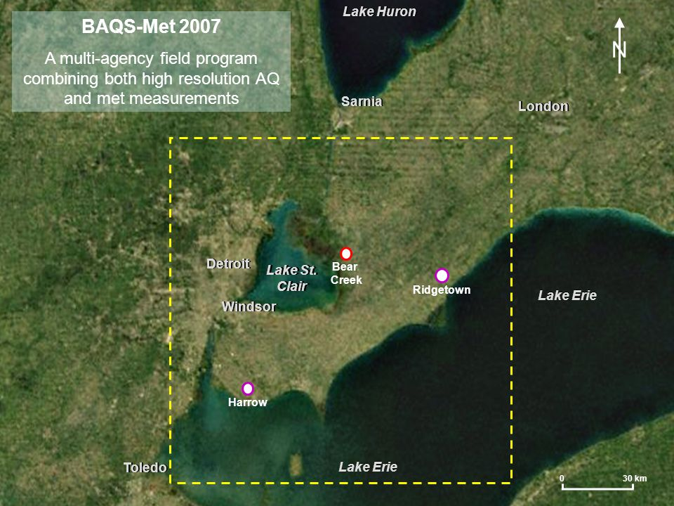 Summary and Future Work Lake breezes very frequently affected SW Ontario in the summer months of 2007 The circulations can strongly influence air quality over all of SW Ontario due to 3-D motions, reduced mixing heights, and increased insolation They also frequently help to initiate thunderstorms, including severe weather Mesonet, aircraft and other BAQS-Met data will be used to further address the 'outstanding questions' related to lake breezes