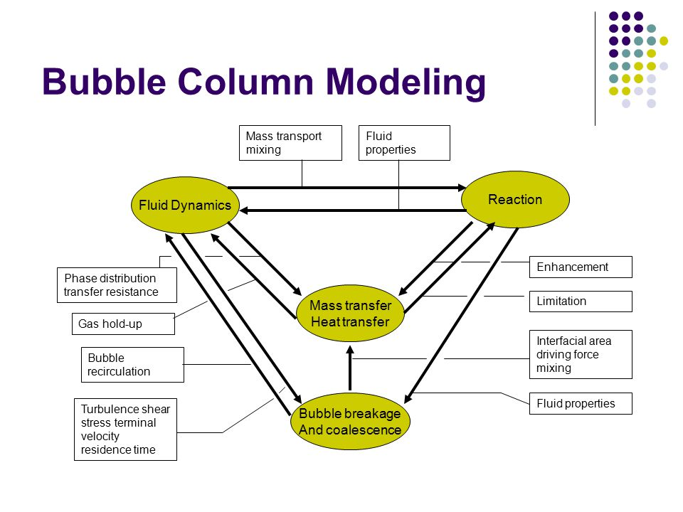 Bubble Column Modeling Fluid Dynamics Reaction Mass transfer Heat transfer Bubble breakage And coalescence Mass transport mixing Fluid properties Phas