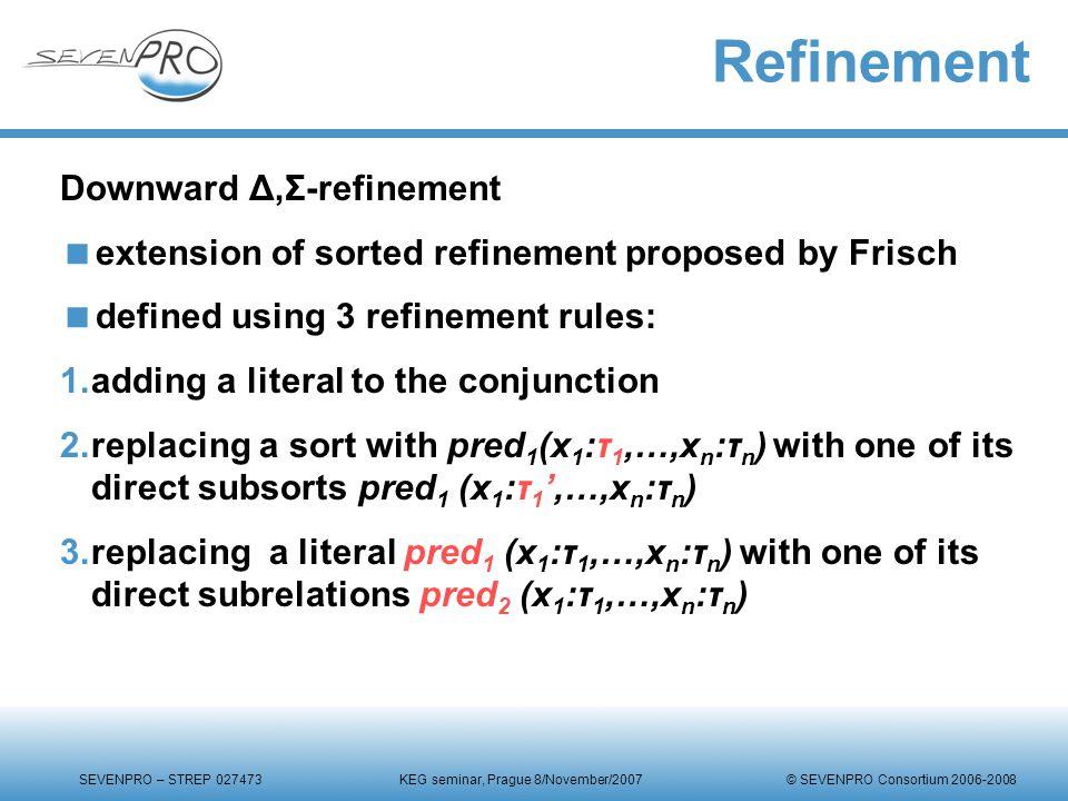 SEVENPRO – STREP 027473 KEG seminar, Prague 8/November/2007 © SEVENPRO Consortium 2006-2008 Refinement Downward Δ,Σ-refinement  extension of sorted r