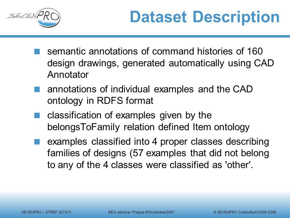 SEVENPRO – STREP 027473 KEG seminar, Prague 8/November/2007 © SEVENPRO Consortium 2006-2008 Dataset Description  semantic annotations of command hist