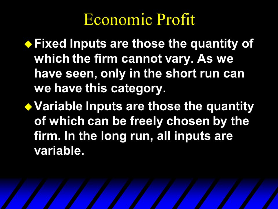 Economic Profit u Fixed Inputs are those the quantity of which the firm cannot vary.