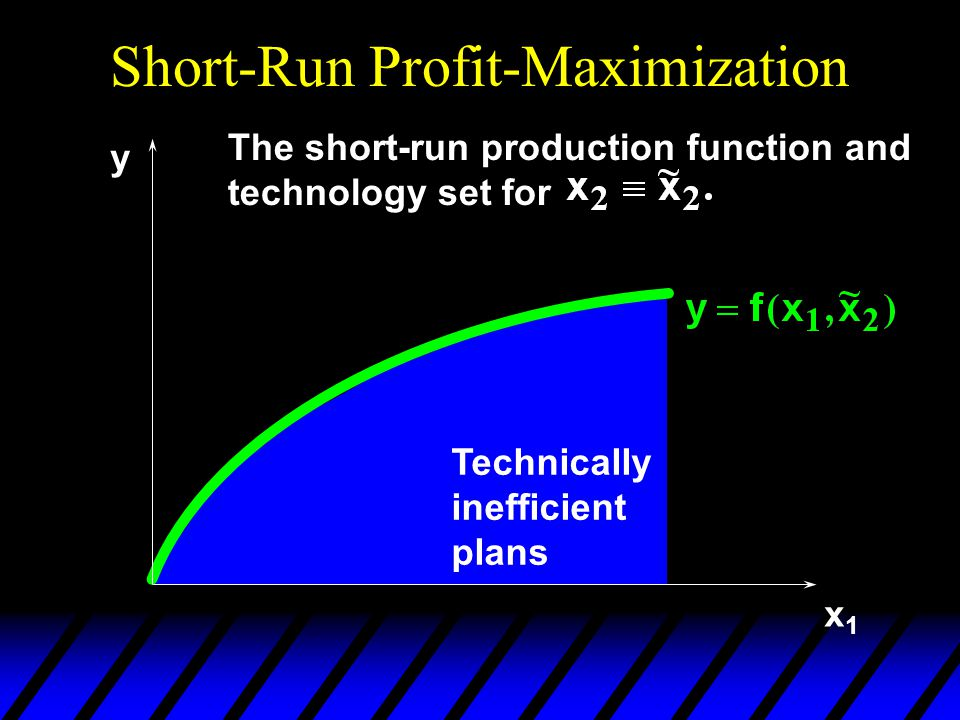 Short-Run Profit-Maximization x1x1 Technically inefficient plans y The short-run production function and technology set for