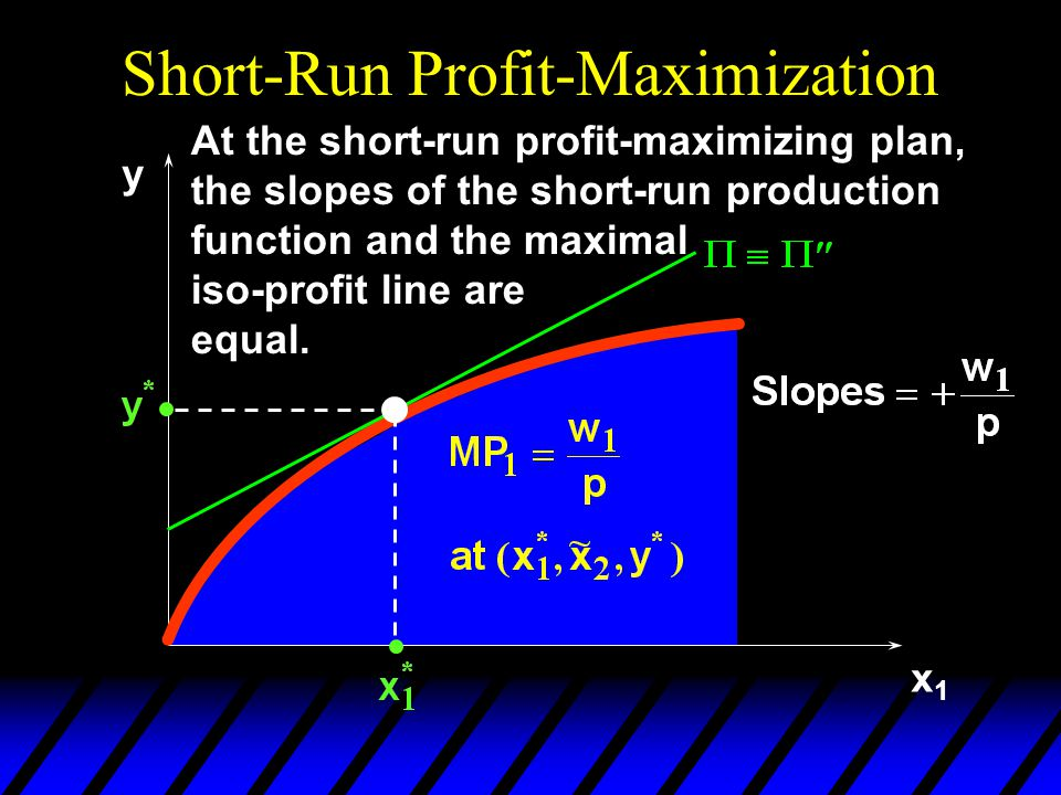 Short-Run Profit-Maximization x1x1 y At the short-run profit-maximizing plan, the slopes of the short-run production function and the maximal iso-profit line are equal.