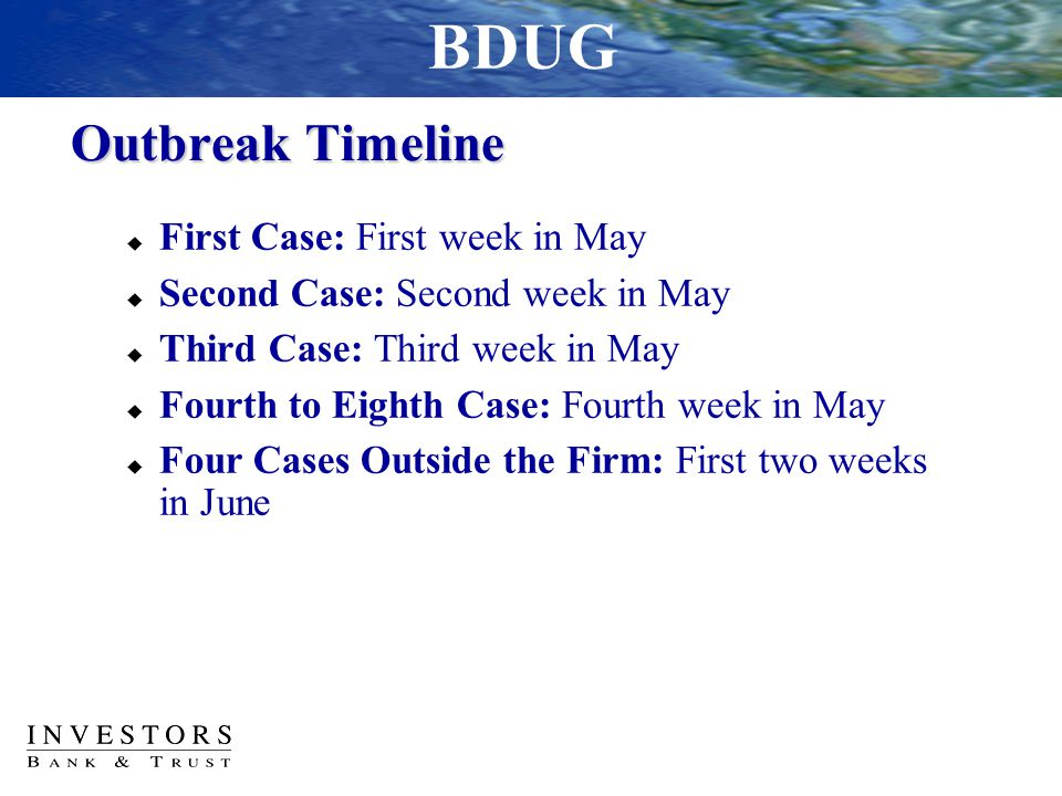 Outbreak Timeline  First Case: First week in May  Second Case: Second week in May  Third Case: Third week in May  Fourth to Eighth Case: Fourth we