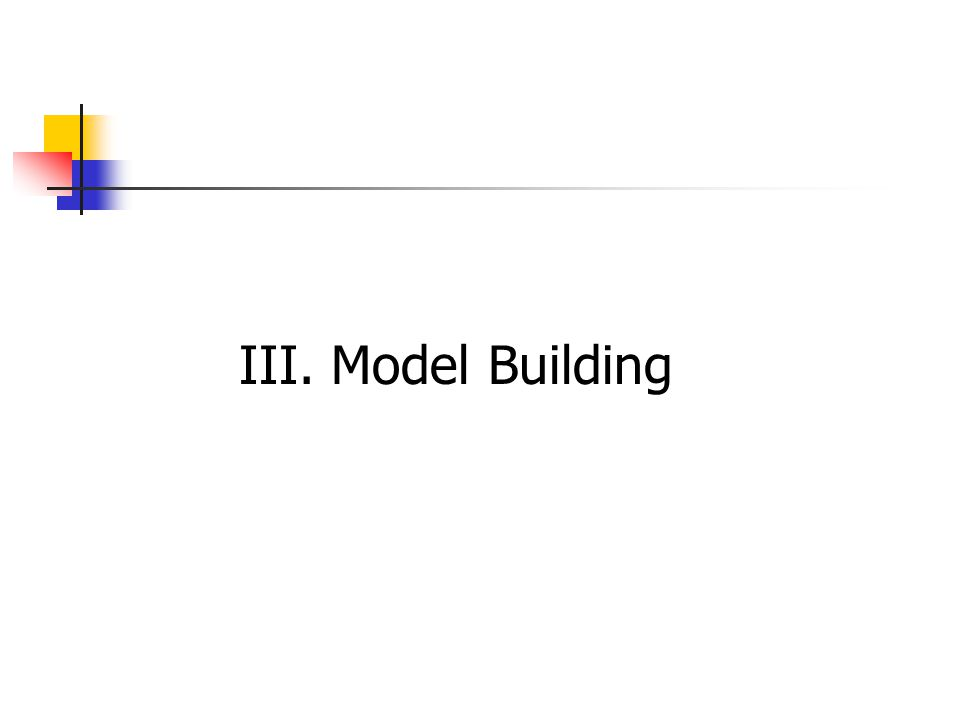 Model building: writing a model that will provide a good fit to a set of data & that will give good estimates of the mean value of y and good predictions of y for given values of the explanatory variables.