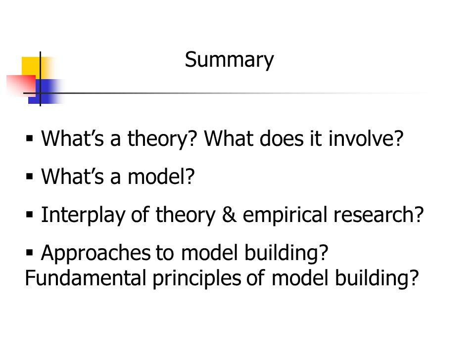 Summary  What's a theory. What does it involve.  What's a model.