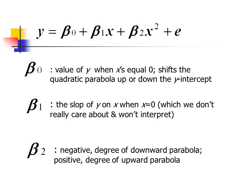 : value of y when x's equal 0; shifts the quadratic parabola up or down the y-intercept : the slop of y on x when x=0 (which we don't really care about & won't interpret) : negative, degree of downward parabola; positive, degree of upward parabola