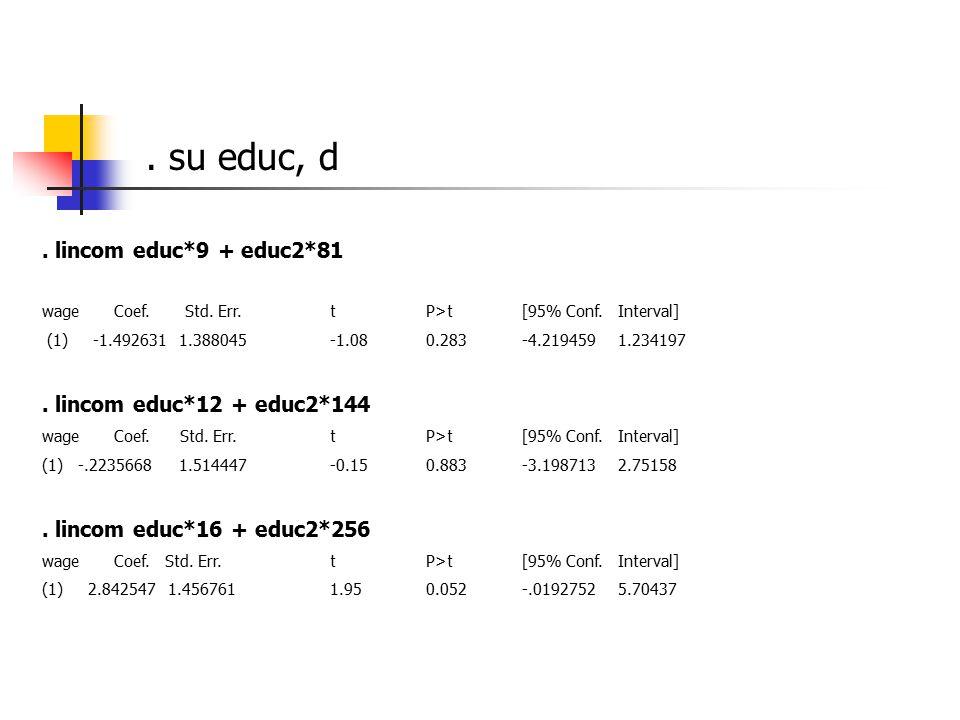 lincom educ*9 + educ2*81 wage Coef. Std.