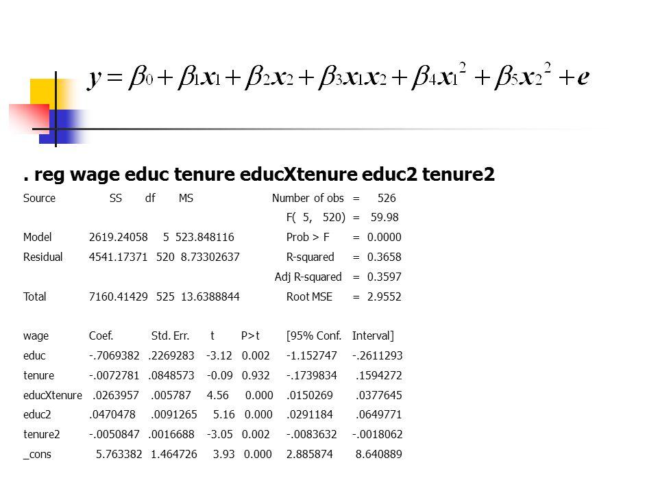 . reg wage educ tenure educXtenure educ2 tenure2 Source SS df MS Number of obs= 526 F( 5, 520)= 59.98 Model2619.24058 5 523.848116Prob > F= 0.0000 Res