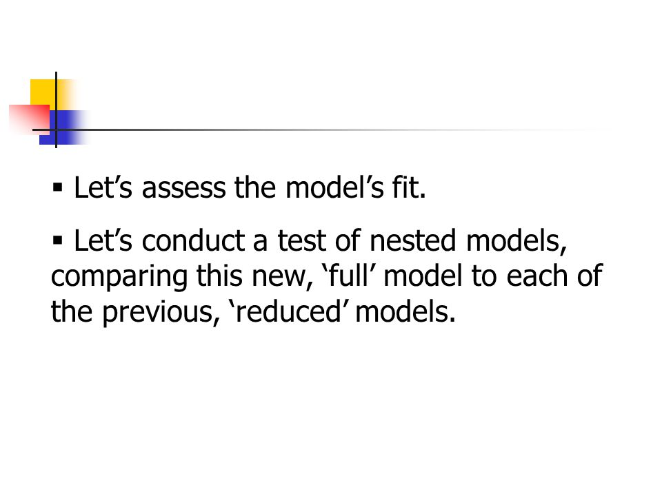  Let's assess the model's fit.
