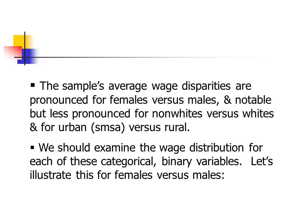  The sample's average wage disparities are pronounced for females versus males, & notable but less pronounced for nonwhites versus whites & for urban (smsa) versus rural.