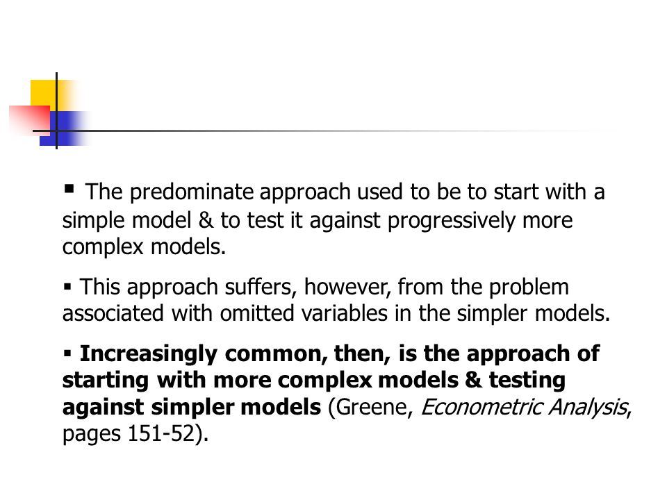 To conduct a valid test of nested models:  the number of observations for both the complete & reduced models must be equal;  the functional form of y must be the same (e.g., we can't compare outcome variable 'wage' to outcome variable 'log-wage').