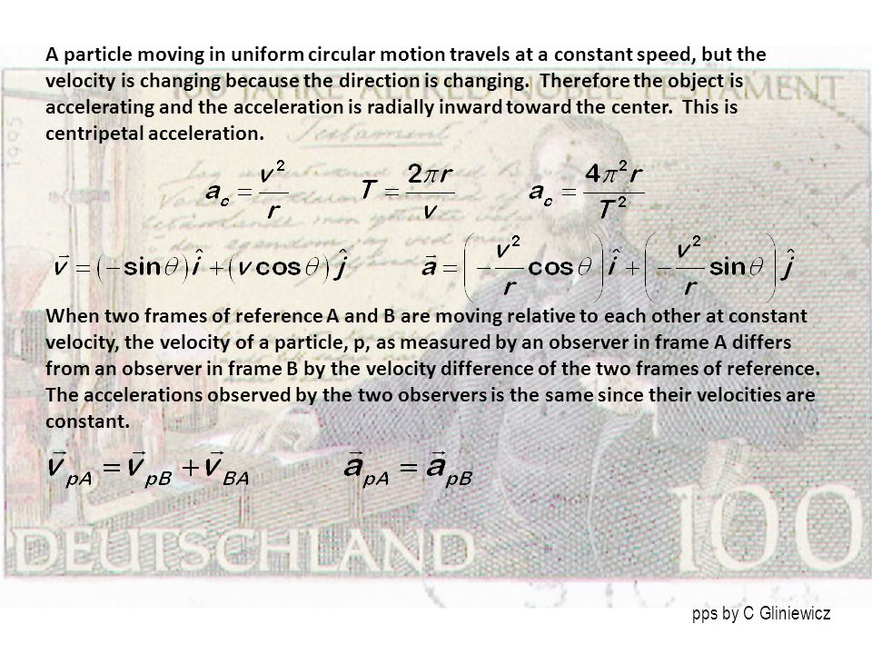 A particle moving in uniform circular motion travels at a constant speed, but the velocity is changing because the direction is changing. Therefore th