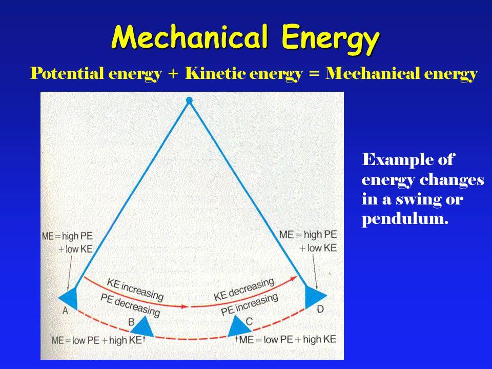 Potential energy + Kinetic energy = Mechanical energy Example of energy changes in a swing or pendulum. Mechanical Energy