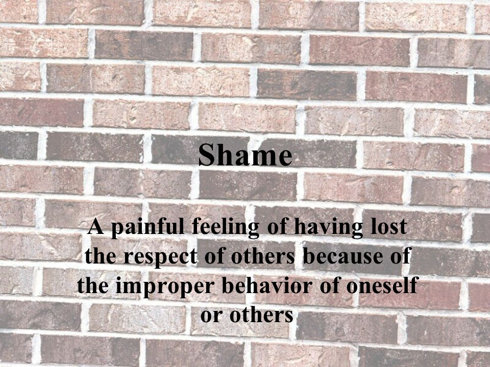 Shame A painful feeling of having lost the respect of others because of the improper behavior of oneself or others
