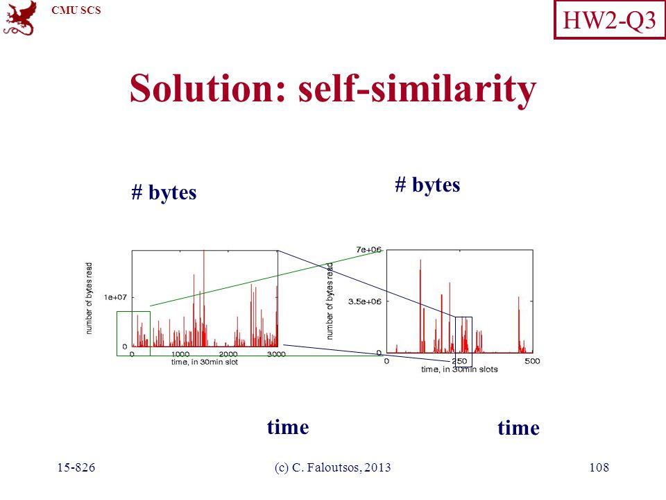 CMU SCS 15-826(c) C. Faloutsos, 2013108 Solution: self-similarity # bytes time # bytes HW2-Q3