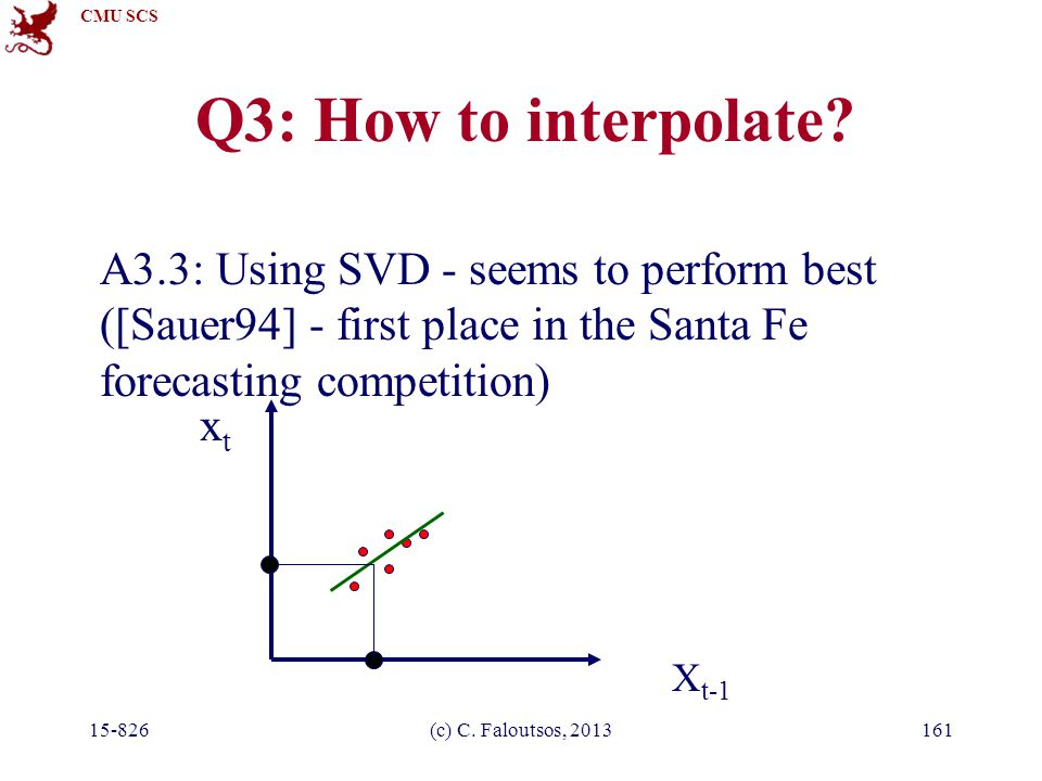 CMU SCS 15-826(c) C. Faloutsos, 2013161 Q3: How to interpolate? A3.3: Using SVD - seems to perform best ([Sauer94] - first place in the Santa Fe forec