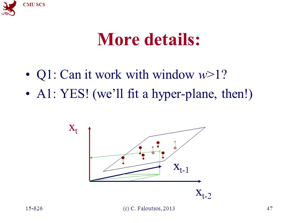 CMU SCS 15-826(c) C. Faloutsos, 201347 More details: Q1: Can it work with window w>1.