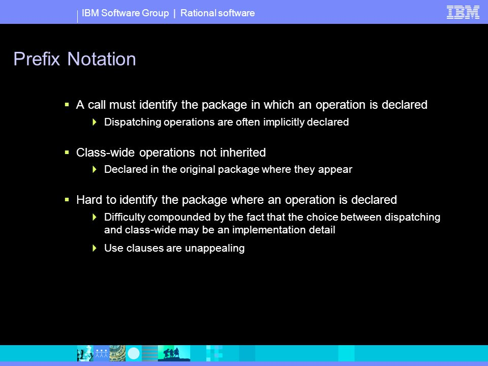 IBM Software Group | Rational software Prefix Notation  A call must identify the package in which an operation is declared  Dispatching operations are often implicitly declared  Class-wide operations not inherited  Declared in the original package where they appear  Hard to identify the package where an operation is declared  Difficulty compounded by the fact that the choice between dispatching and class-wide may be an implementation detail  Use clauses are unappealing