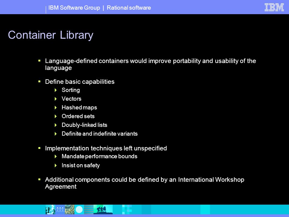 IBM Software Group | Rational software Container Library  Language-defined containers would improve portability and usability of the language  Define basic capabilities  Sorting  Vectors  Hashed maps  Ordered sets  Doubly-linked lists  Definite and indefinite variants  Implementation techniques left unspecified  Mandate performance bounds  Insist on safety  Additional components could be defined by an International Workshop Agreement