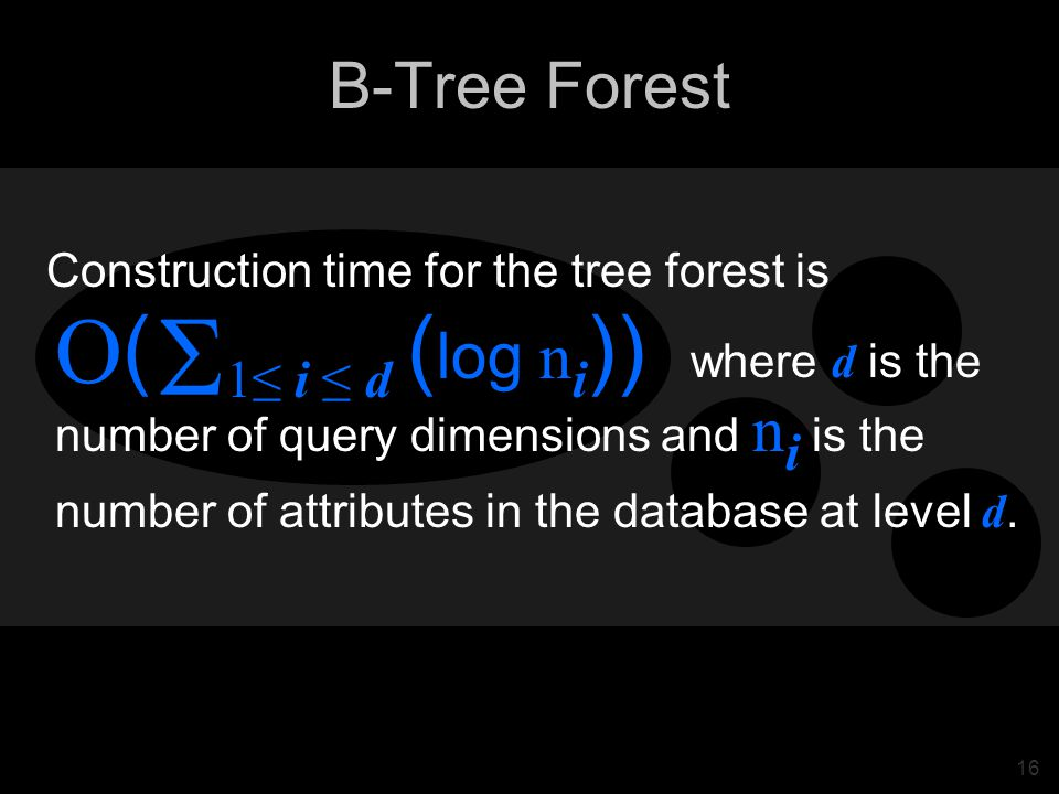16 B-Tree Forest Construction time for the tree forest is where d is the number of query dimensions and n i is the O ( 1≤ i ≤ d ( log n i )) number of