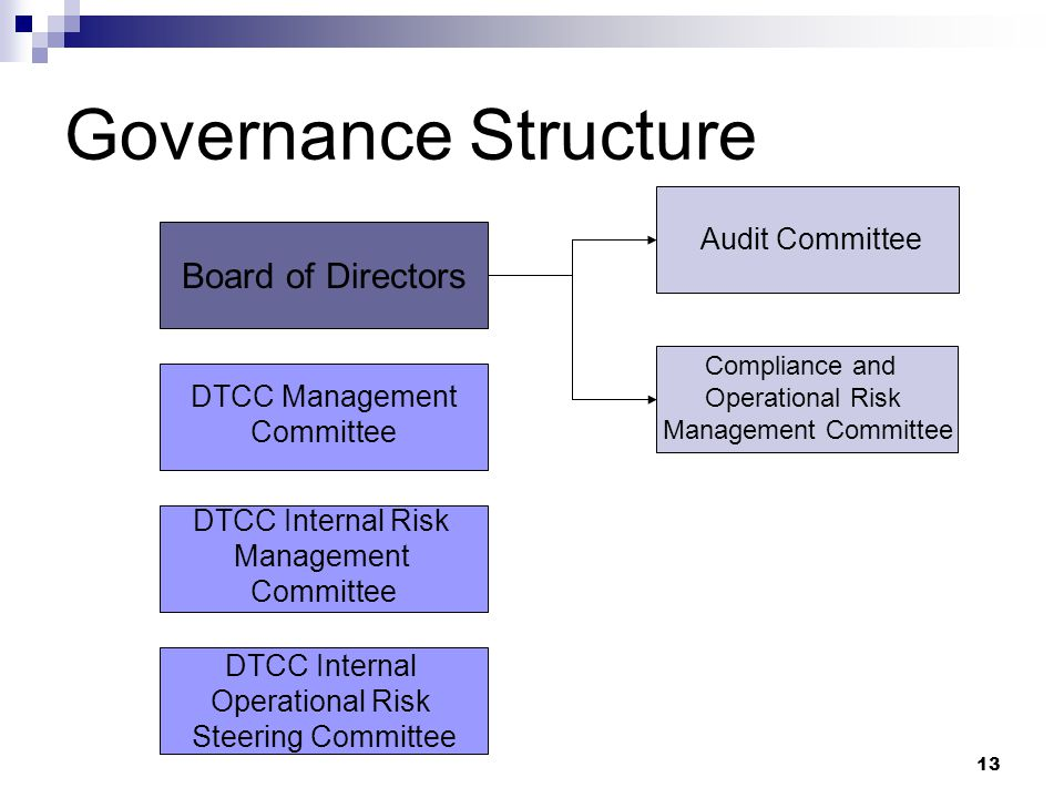 13 Governance Structure Board of Directors Audit Committee Compliance and Operational Risk Management Committee DTCC Management Committee DTCC Internal Risk Management Committee DTCC Internal Operational Risk Steering Committee
