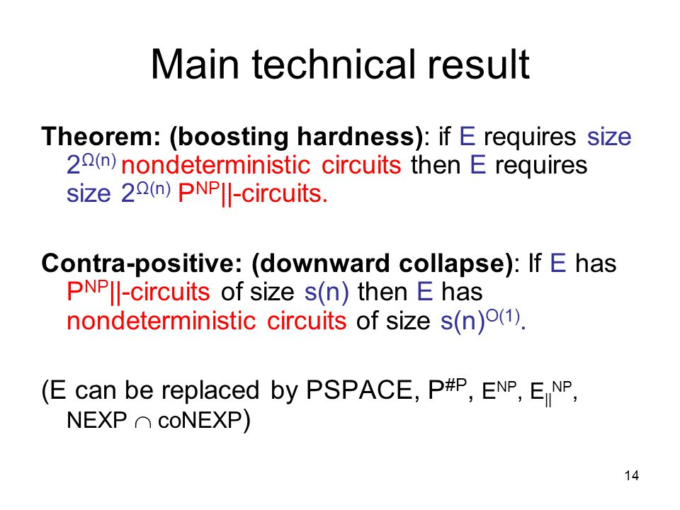 14 Main technical result Theorem: (boosting hardness): if E requires size 2 Ω(n) nondeterministic circuits then E requires size 2 Ω(n) P NP ||-circuits.
