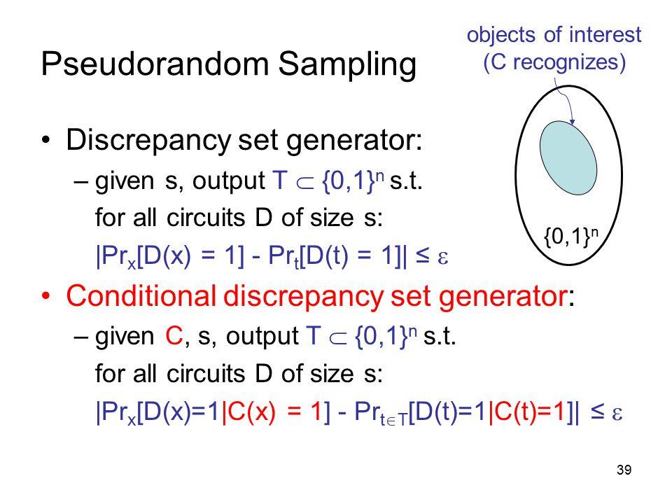 39 Pseudorandom Sampling Discrepancy set generator: –given s, output T  {0,1} n s.t.